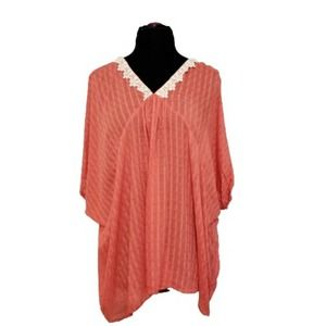 NWT Umgee Coral V Neck Embroidered Tunic L